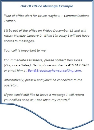 Out Of Office Message Bruce Mayhew Blog Training And Development Communication Training Blog