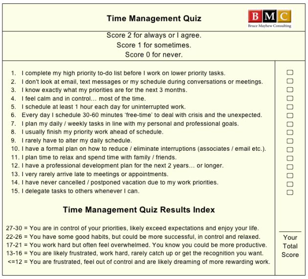 Time Management Quiz by Time Management Training Facilitator, Bruce Mayhew Consulting.